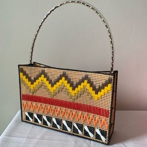 Handmade needle stitch embroidered mini handbag